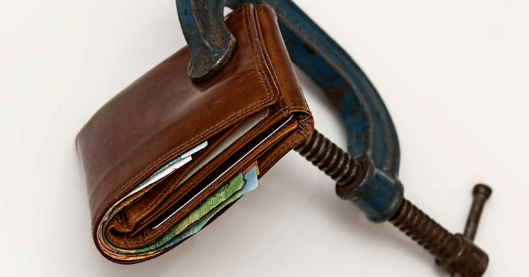 Brown Leather Wallet in a Metal Vice Lock - Restricted Funds Can't Spend
