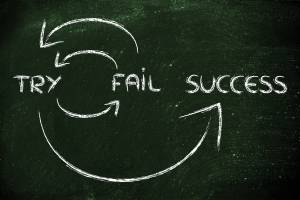 Try, Fail, Succeed Sign on Chalkboard