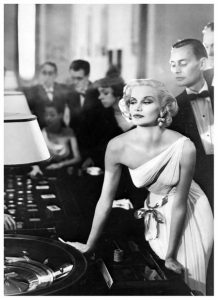 Lady in Gown at Casino Tables Glamour