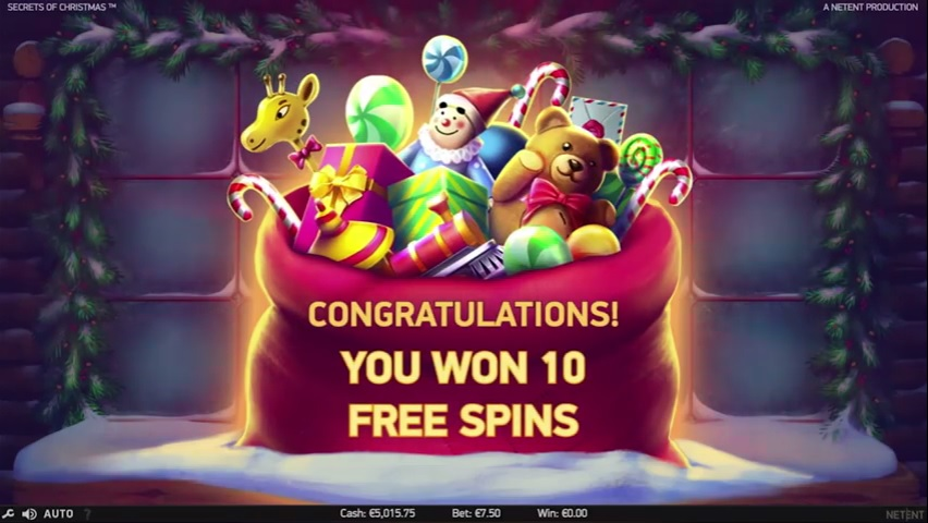 Secrets of Christmas Free Spins Win