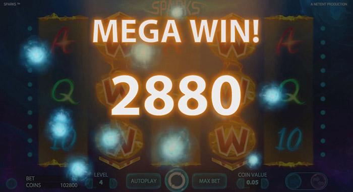 Sparks Video Slot Megan Win