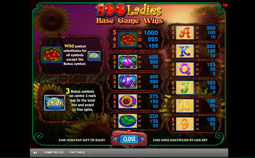 100 Ladies Slot Paytable