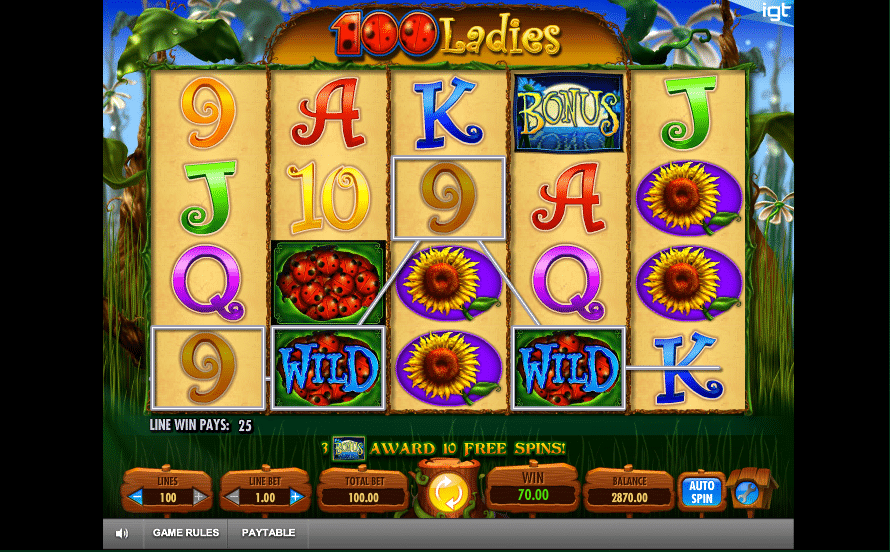 100 Ladies Wild Symbol Win