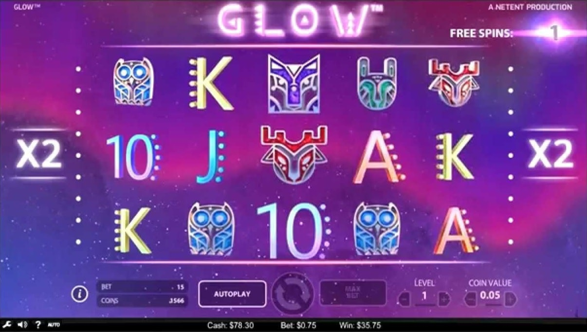 glow slot free spins netent