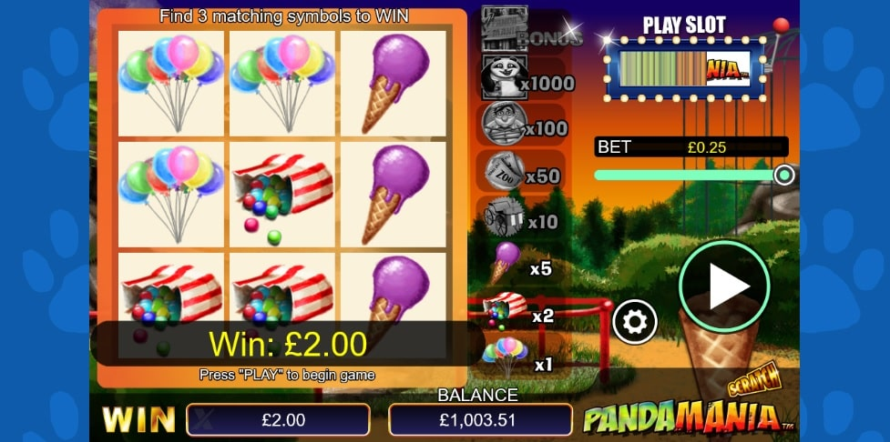 pandamania scratch card full win