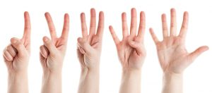 Five Hands Fingers Hands Counting Numbers One To Five