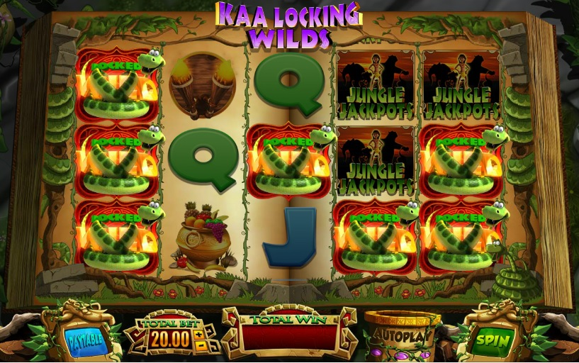 Jungle Jackpots Kaa Locking Wilds