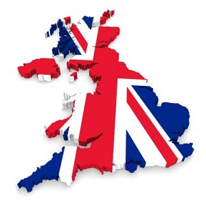 UK Outline With Flag Colours