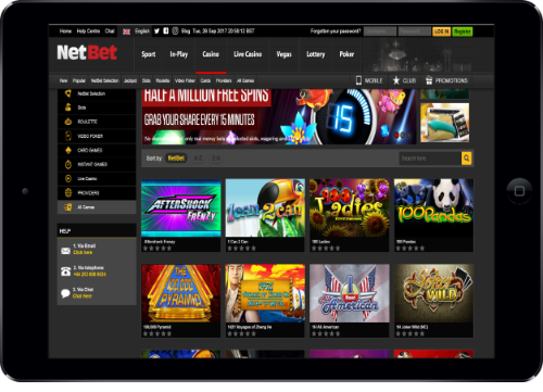 NetBet Games in Tablet