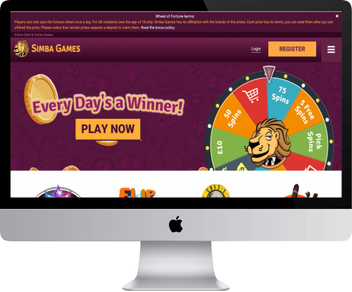Simba Games Casino Homepage in Computer