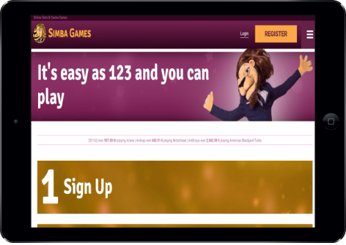 Simba Games Casino Signup in Tablet