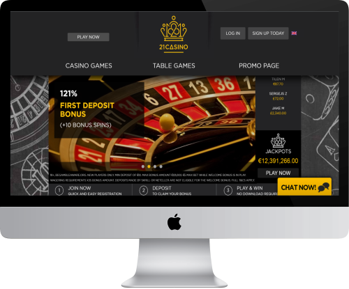 21Casino Homepage in Computer