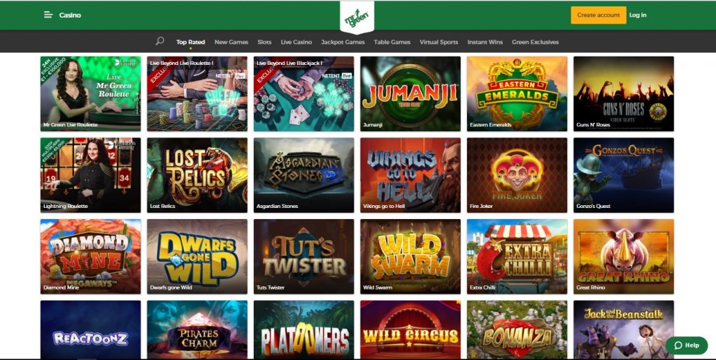 Mr. Green Casino Games