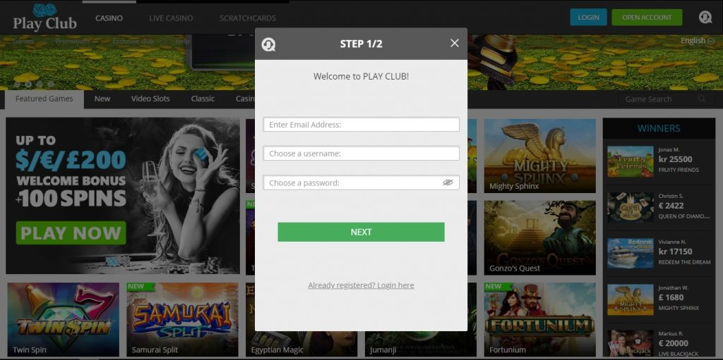 Play Club Casino Sign Up