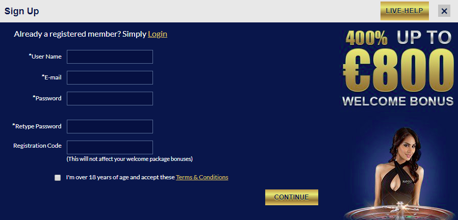 Casino Napoli Sign Up Form