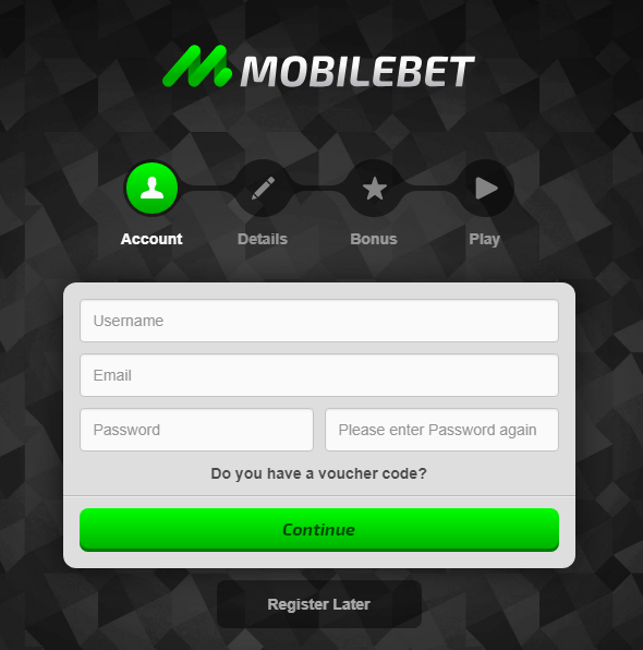 MobileBet Registration Form