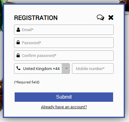 National Lottery Casino Registration Page