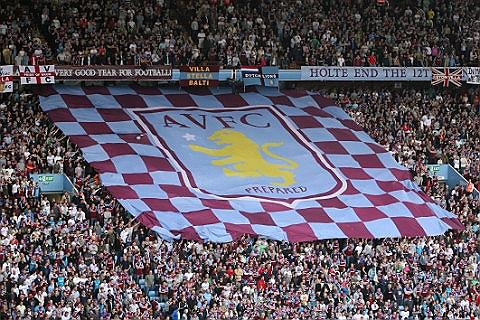 Aston Villa Supporters With Flag