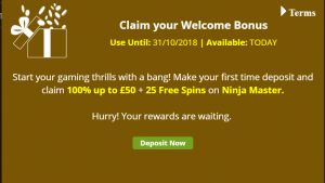 Mega Casino Welcome Bonus Screen