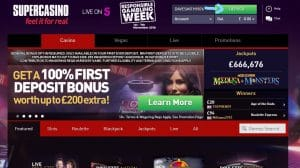 Supercasino Deposit Button From Homepage