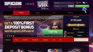 Supercasino Register Button From Homepage