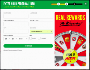 Rizk Casino Sign Up Page 2