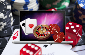 Animated Laptop Screen, Cards, Roulette Wheel, Casino Chips, Dice