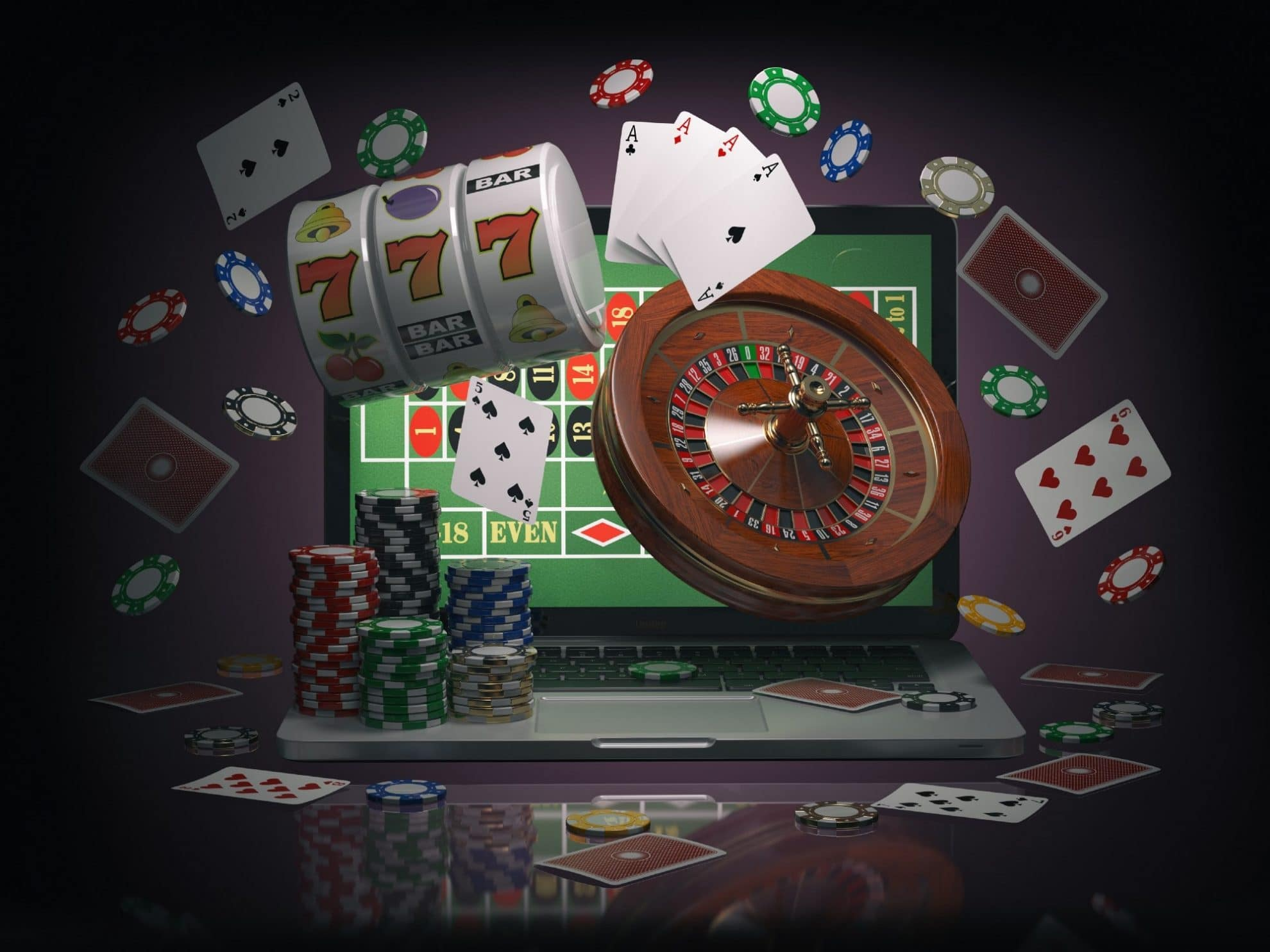 Animated Laptop Screen, Roulette Wheel, Cards, Casino Chips, Slot Reels