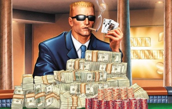 Animation Of Man Holding Cards And Smoking A Cigar With Heaps Of Cash And Casino Chips