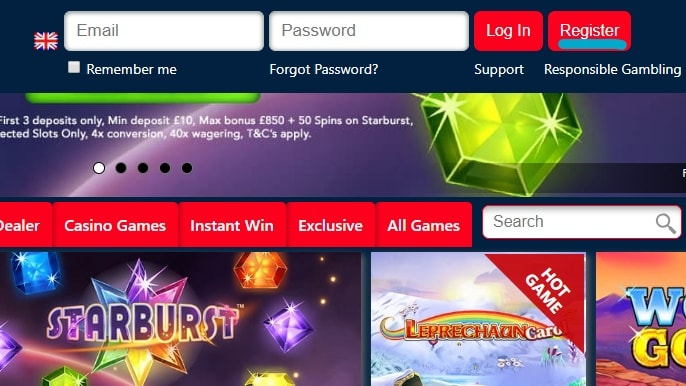 Casino Homepage Login And Register Buttons
