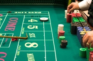 Craps Table With Casino Chips