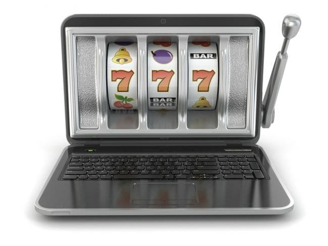 Laptop With Classic Reel Structure On Screen And Lever