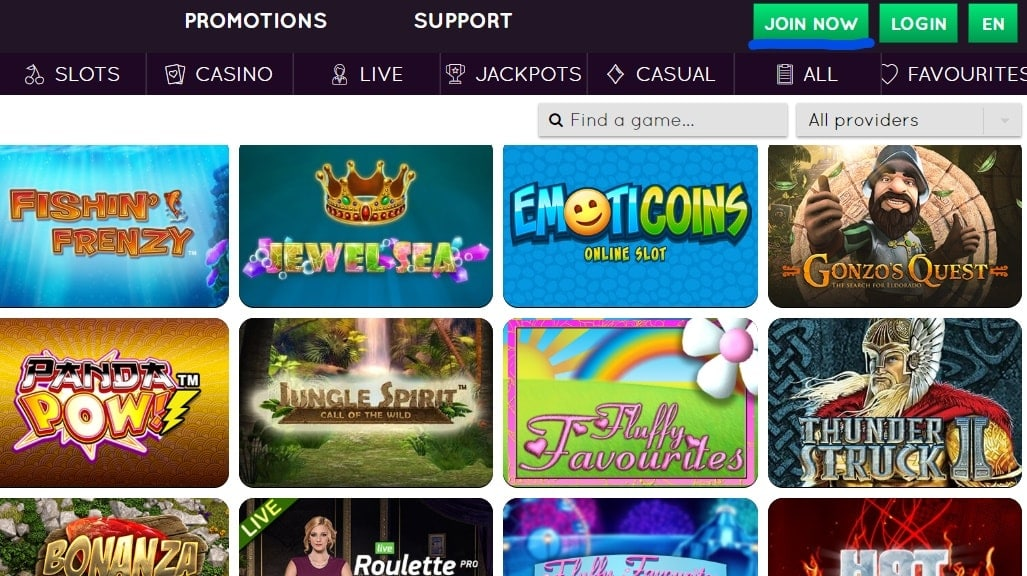 Sign Up And Login Buttons On Casino Homepage