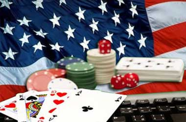 USA Flag With Casino Chips, Playing Cards, Dice And Keyboard