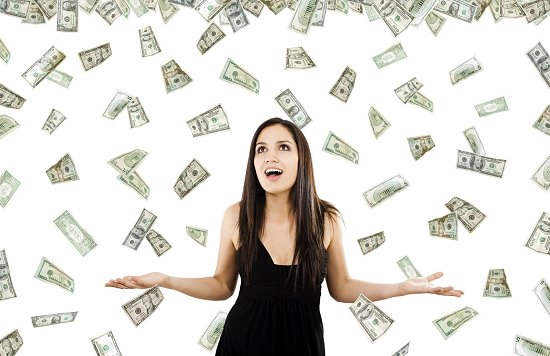 Woman Standing With Notes Of Money In The Air