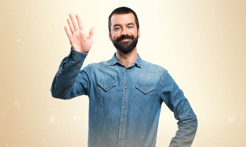 bearded man waving goodbye