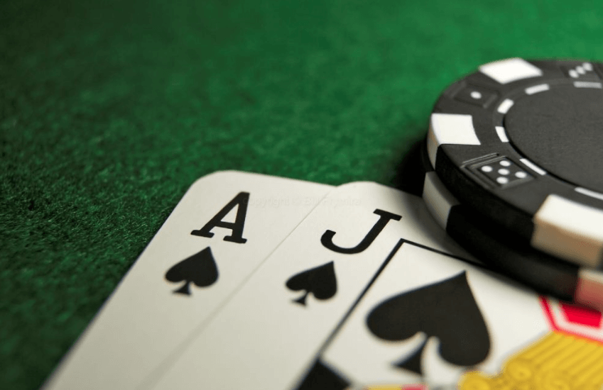 Blackjack Winning Hand Ace and Jack Cards