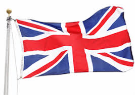 flag of great britain in the wind