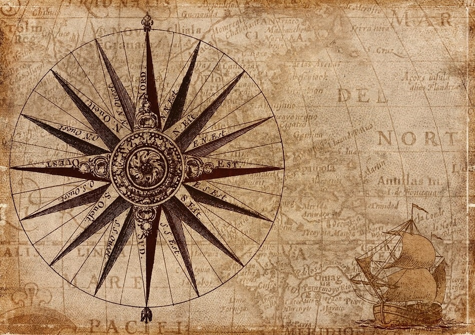 historical style map compass
