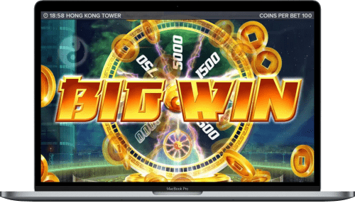 hong kong tower slot big win on laptop