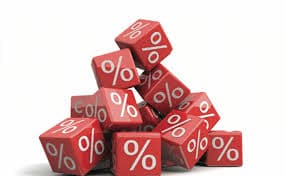 pile of dice with percentage symbols