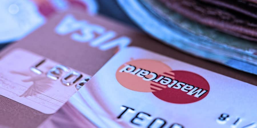 an artistic photo of mastercard and visa bank cards