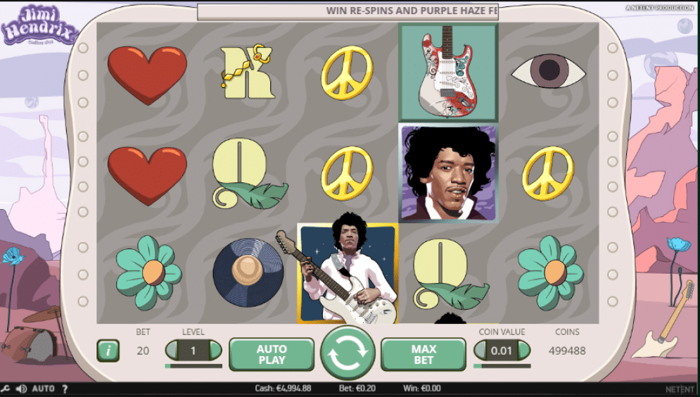 Jimi Hendrix Slot Gameplay NetEnt