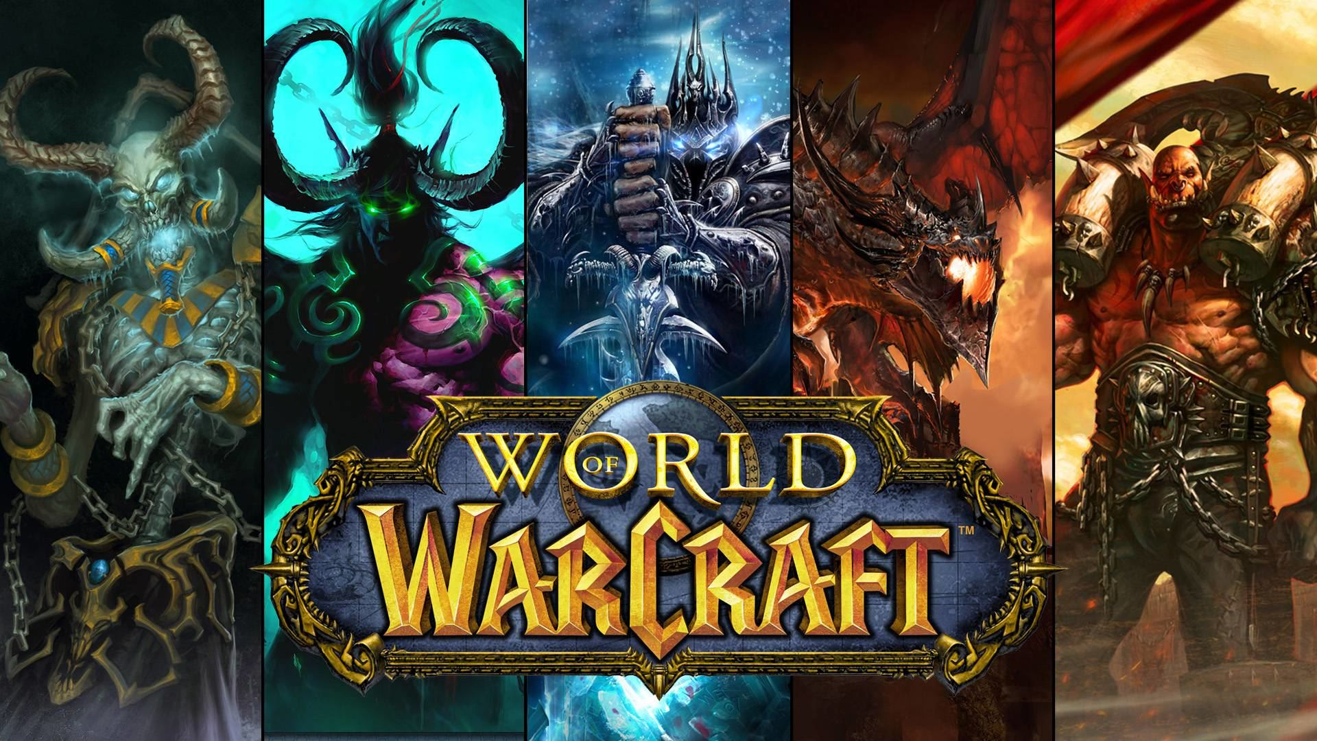 world of warcraft characters and logo