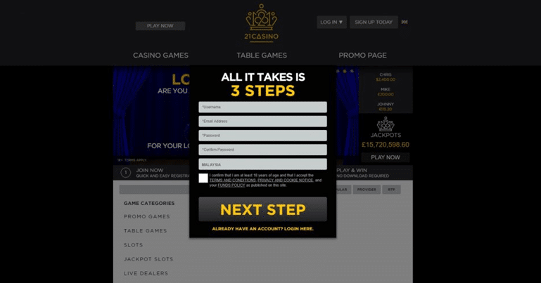 21 Casino Sign Up Process Screenshot